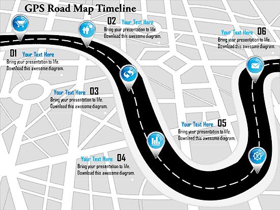 Timeline SlideTeam GPS Road Map