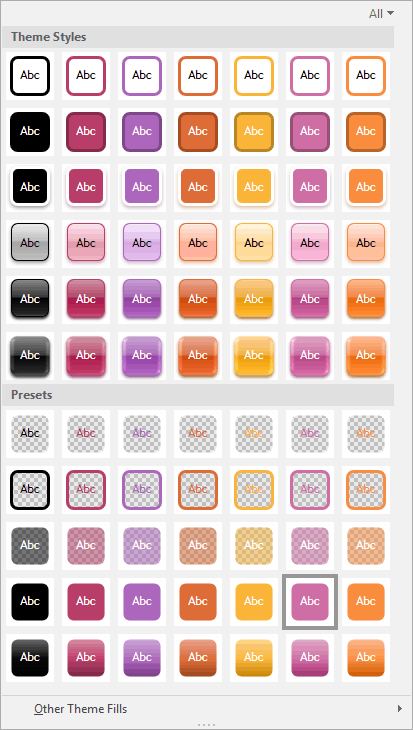 Shape Styles with Theme Styles and Presets