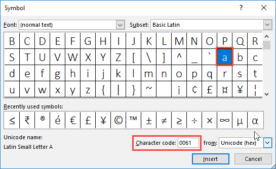 Symbol dialog box in PowerPoint