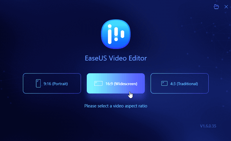 EaseUS Video Editor Launch Screen