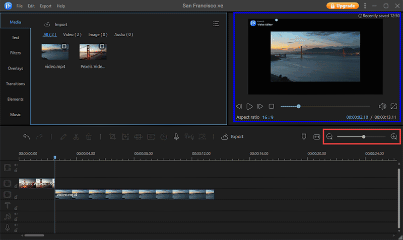 Timeline in EaseUS Video Editor