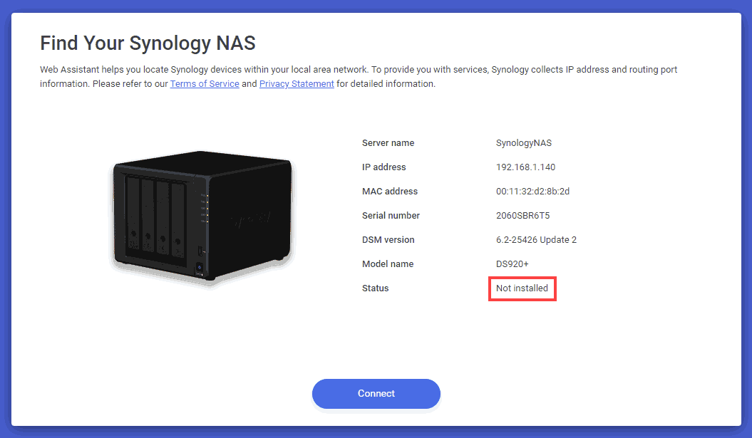 Synology NAS Not installed