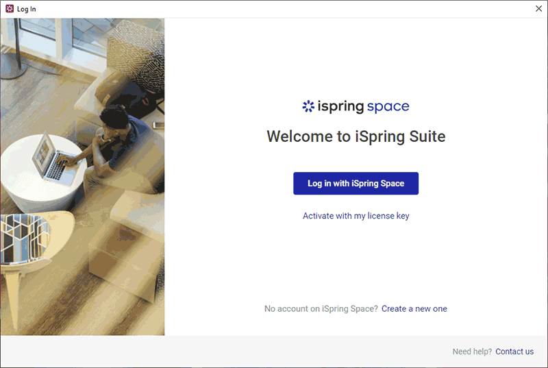 Log in with iSpring Space