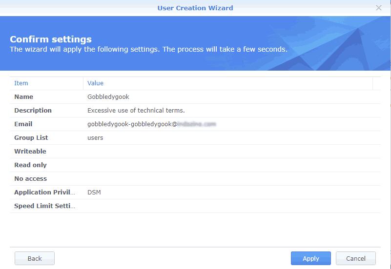 Confirm settings