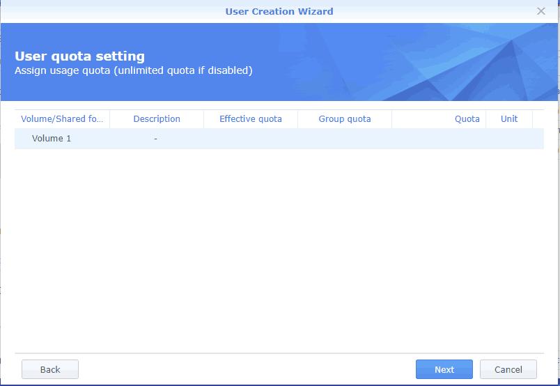 User quota setting