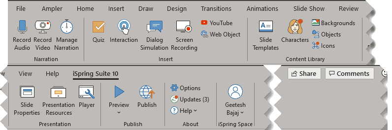 iSpring Suite 10 tab of the Ribbon