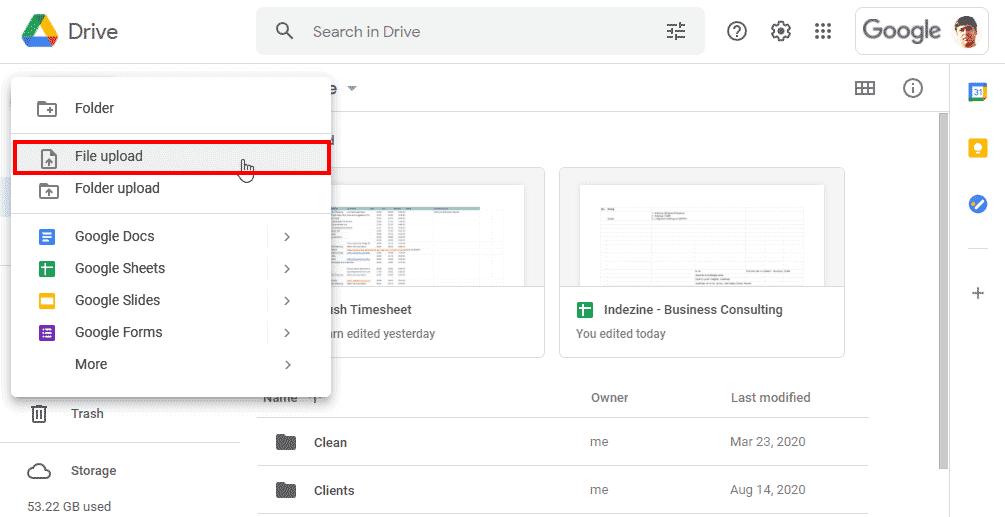Choose the File Upload option
